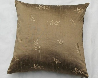 On sale,Taupe silk  pillow covers , dupioni silk throw pillow covers with leafs design  embroidered, set of 2 on 40% off, 16x16 inches .