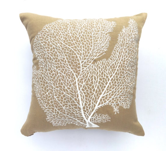 Taupe Coral Pillow Cover Stock Clearance 20 Off Sea Theme Etsy