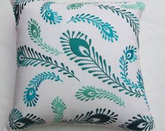 white and blue peacock pillow cover, decorative cushion, Peacock themed pillow. Teal blue peacock feather pillow cover, custom made.