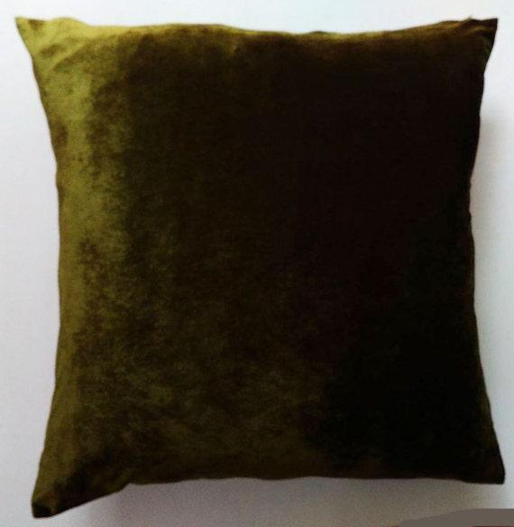 Velvet Pillow Cover, Olive Green
