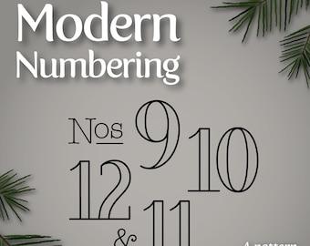 Modern Numbering PDF supplement for Twelve Days Ornaments patterns 9-12