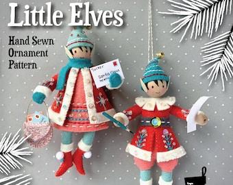 Little Elves PDF pattern, hand sewn wool felt ornaments