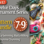 Twelve Days Series 7-9 PDF Pattern Bundle: Swan a-Swimming, Maid a-Milking, and Drummer Drumming