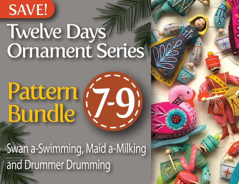 Twelve Days Series 7-9 PDF Pattern Bundle: Swan a-Swimming image 0