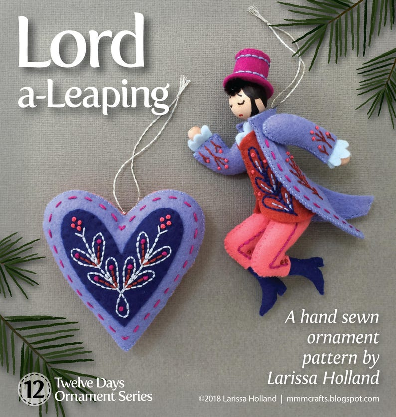 Lord a-Leaping PDF pattern for a hand sewn wool felt ornament image 0