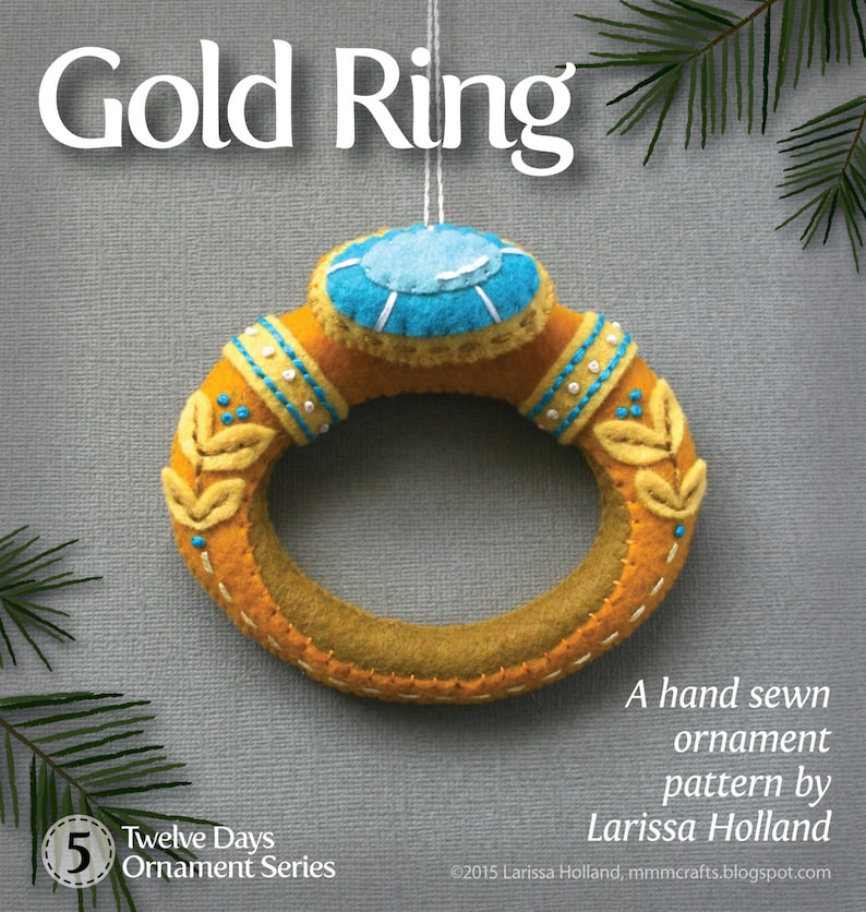 Gold Ring PDF pattern for a hand sewn wool felt ornament image 0