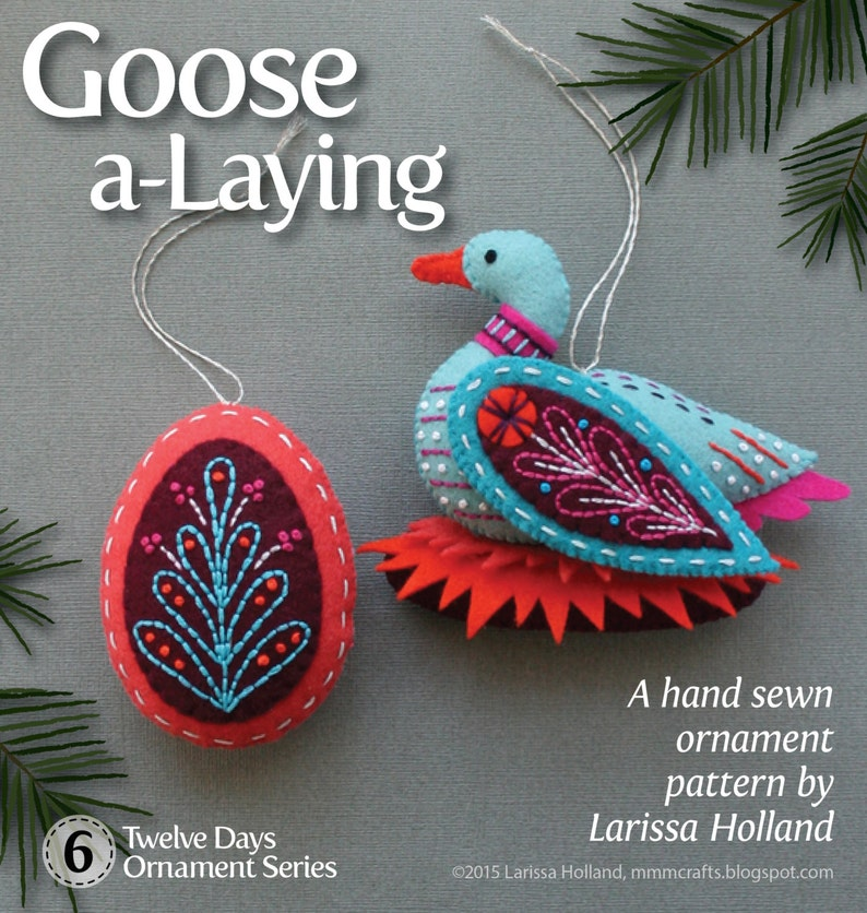 Goose a-Laying PDF pattern for a hand sewn wool felt ornament image 0