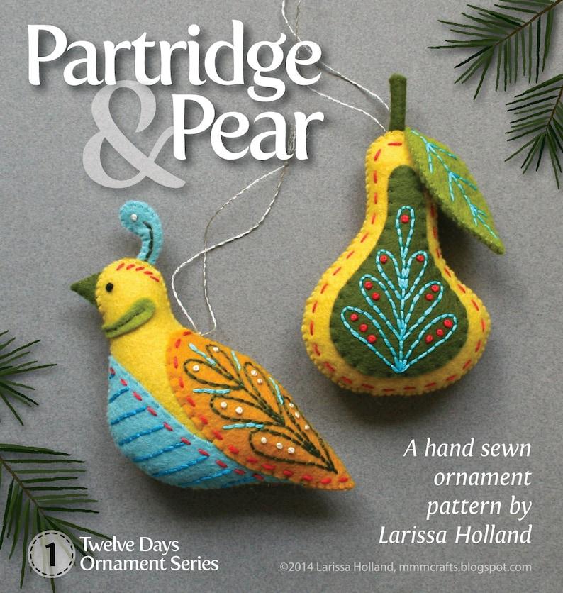 Partridge & Pear PDF pattern for a hand sewn wool felt image 0