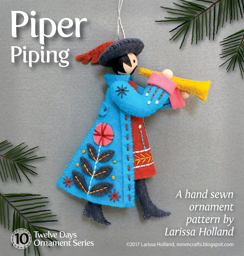Piper Piping PDF pattern for a hand sewn wool felt ornament image 0