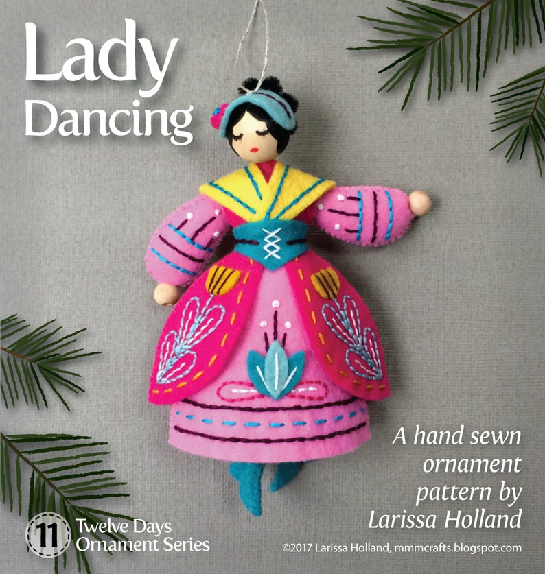 Lady Dancing PDF pattern for a hand sewn wool felt ornament image 0