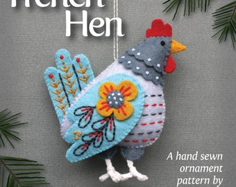 French Hen PDF pattern for a hand sewn wool felt ornament