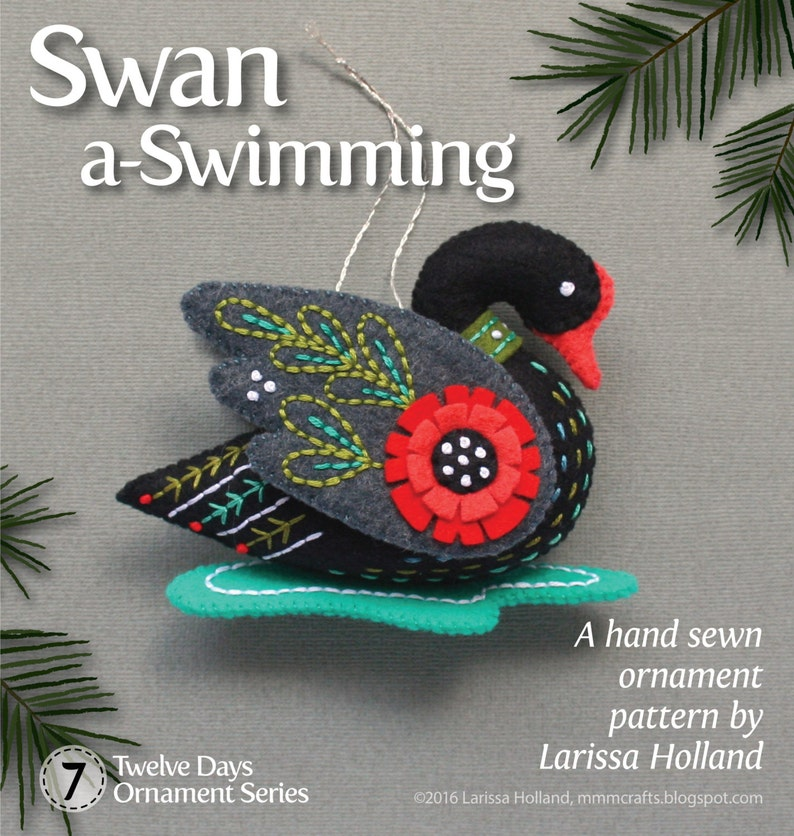 Swan a-Swimming PDF pattern for a hand sewn wool felt ornament image 0