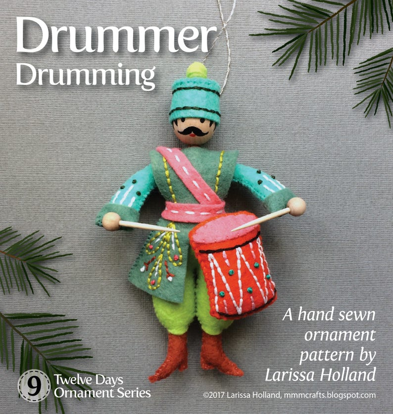 Drummer Drumming PDF pattern for a hand sewn wool felt image 0