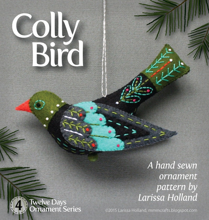 Colly Bird PDF pattern for a hand sewn wool felt ornament image 0
