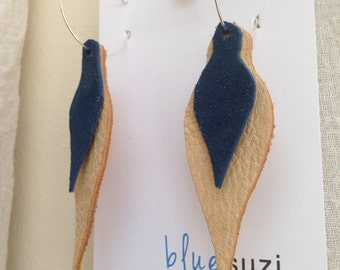 Leather Feather Leaf Dangle Earrings Eco-friendly in Chocolate + Blue OR Natural + Red