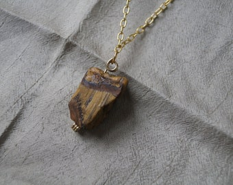 RAW Tiger Eye Necklace with Black Leather and Burnished Golden Chain