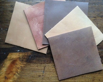 Leather Coasters in Distressed Browns, Set of Five for your Gift Giving, Eco Friendly & Upcycled.