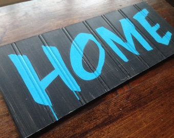 Sweet Hand Painted Rustic Enamel Lettered Wall Art. Black with Teal Peacock Blue HOME Lettering. Sweet Gift for Housewarming. Indoor Use.