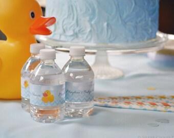 Custom Water Bottle Labels - Water Bottle Wrappers - Water Bottle Wraps - Rubber Ducky Theme Bottle Wraps - Rubber Ducky Water Bottle Labels