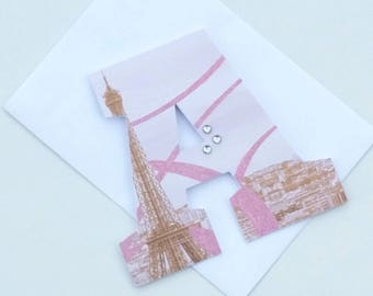 Paris Birthday Card - Letter Card - Daughter Birthday - Letter Birthday Card - Monogram Card - Birthday Greeting Cards - Happy Birthday Card