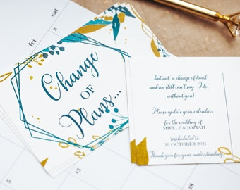 Change the Date Postcards   Printed Save the Dates   Save Our New Date   Postponed Wedding Announcements   Wedding Update Cards