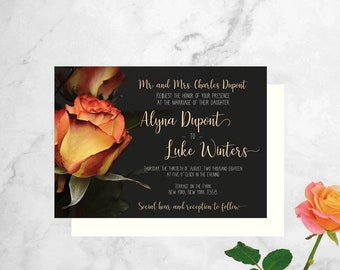 Rose Wedding Invitation - Summer Wedding Invitation - Floral Wedding Shower Invitation - Rose Wedding Invite - Gray Wedding Invitation