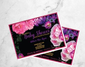 Floral Baby Shower Invitations - Dark Floral Invites - Garden Baby Shower Invitation - Baby Shower Brunch - Peony Baby Shower Invitation