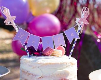 Cake Banner - Ballerina Cake Topper - Pennant Cake Topper - Custom Birthday Cake Topper - Mini Pennant Banner - Ballerina Party Decor
