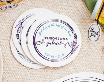 Wedding Coasters Favors   Personalized Coaster   Printed Coasters   Round Drink Coasters   Wedding Favors for Guests in Bulk