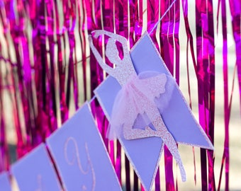 Happy Birthday Banner - Birthday Garland - Ballerina Birthday Banner - Ballerina Party Decorations - Birthday Pennant Banner - Party Banner