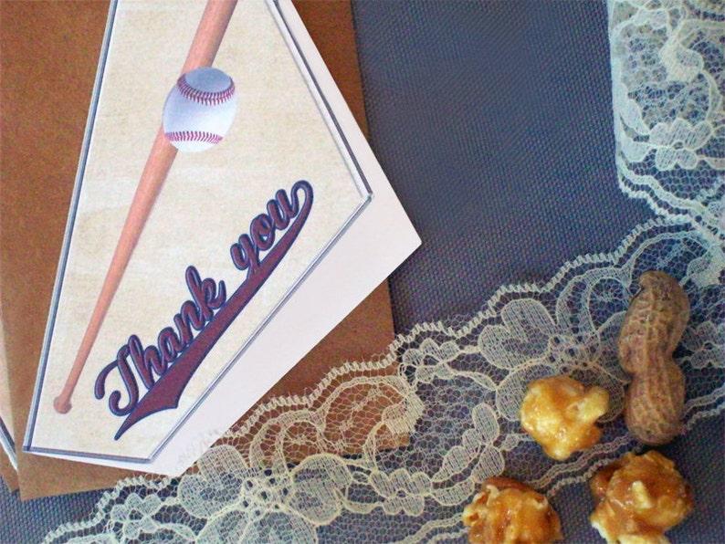 Rustic Wedding Baseball Thank You Card Set