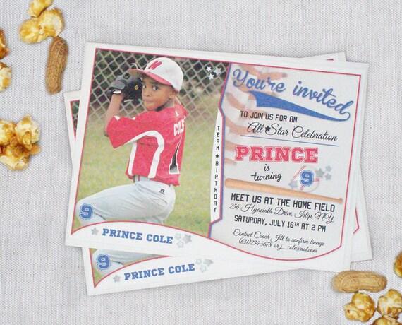 Baseball Card Birthday Invitations For Boys