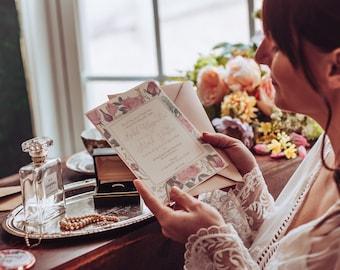 Vintage Inspired Wedding Invitation   Antique Rose Invitation Suite   Floral Garden Ceremony