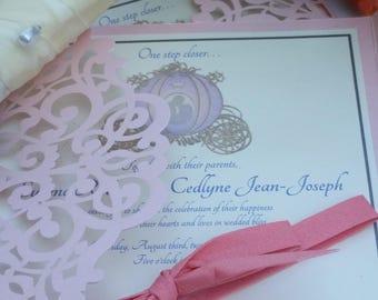 Fairy Tale Wedding Invitation Set - Lace Wedding Invitations - Fairytale Wedding Invitations - Luxury Wedding - Laser Cut Wedding Invitation