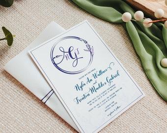Lavender Wedding Invitations   Modern Wedding Invites   Outdoor Wedding Invitation Suite