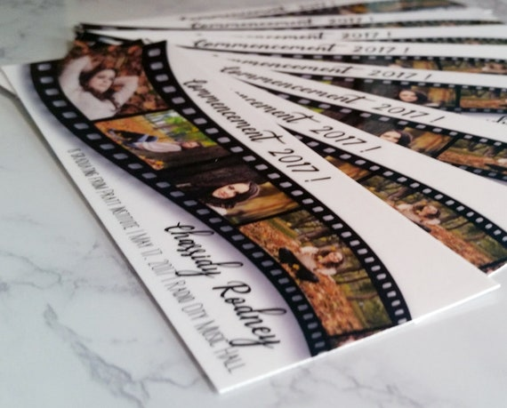 filmstrip graduation announcement bookmark invitation etsy