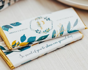 Wedding Favors for Guests in Bulk   Personalized Chocolate Favors   Custom Candy Bar Wrapper   Thank You Favors   Sets of 4, 8, or 12