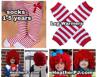 Any Size Rag Doll Dress, Apron, Pants, Leg Warmers or Striped Socks, and Fluffy Red Wig