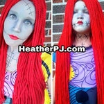 Any Size Long Straight Red Yarn Wig with Middle Part Handmade with Fat Quality Red Yarn, scary rag doll Sally Poison Ivy costume