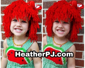 Rag Doll Wig DIY Kit in Orange and Red for Raggedy Ann Raggedy Andy or Chucky Costumes Raggedy Ann Raggedy Andy Chucky Madeline Cabbage