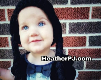 Any Size or Color Braided Wig Crochet for All Sizes Baby, Newborn, 3 Month, 6 Month, 12 Month, 18 Month, Toddler Wednesday Addams Adams