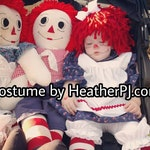 Any Size Wig and Dress! Crocheted Red Yarn Wig Handmade with Fat Quality Red Yarn, Rag Doll Costume