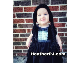 Any Size or Color Braided Wig Crochet for All Sizes Baby, Newborn, 3 Month, 6 Month, 12 Month, 18 Month, Toddler, Wednesday Adams Addams