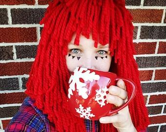 Any size Wig! Crocheted Red Yarn Wig Handmade with Fat Quality Red Yarn Rag Doll