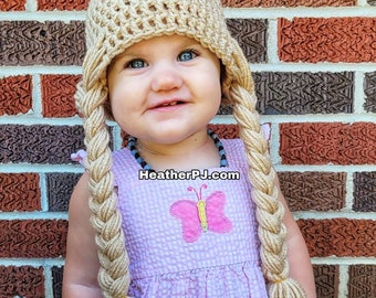 Any Size or Color Braided Wig Crochet for All Sizes Baby, Newborn, 3 Month, 6 Month, 12 Month, 18 Month, Toddler, Youth, Adult