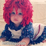 Any Size Wig or Rag Doll Dress Crocheted Red Yarn Wig Handmade Rag Doll costume Raggedy Ann Raggedy Andy Chucky Madeline Cabbage Patch