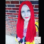 Long Red Yarn Wig Handmade with Fat Quality Red Yarn, Inspired by Sally from Nightmare Before Christmas