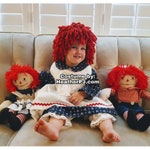 Any Size Wig or Dress! Crocheted Red Yarn Wig Handmade with Fat Quality Red Yarn, Rag Doll costume