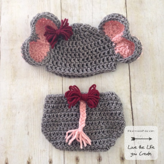 Pattern Elephant Hat And Diaper Cover With Tail For Newborn Etsy