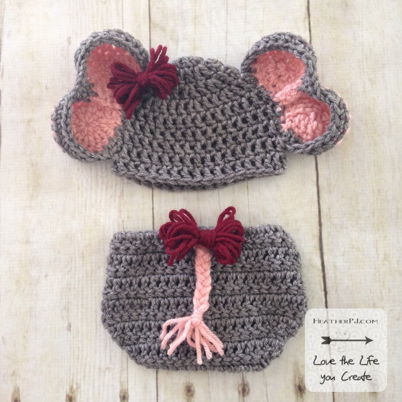 PATTERN Elephant Hat and Diaper Cover with Tail for Newborn.  50eab91329d